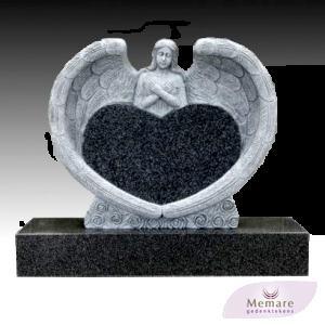 grafmonument een hart omarmd door een engel met vleugels 2
