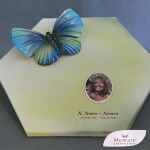 vlinder met foto op de keramische plaat