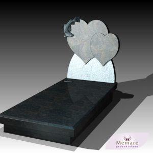 grafsteen met twee harten en uitgehakte vis