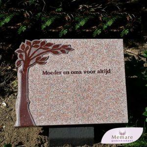 grafsteen voor algemeen graf met boom verheven incl boom en 30 letters en tekens E